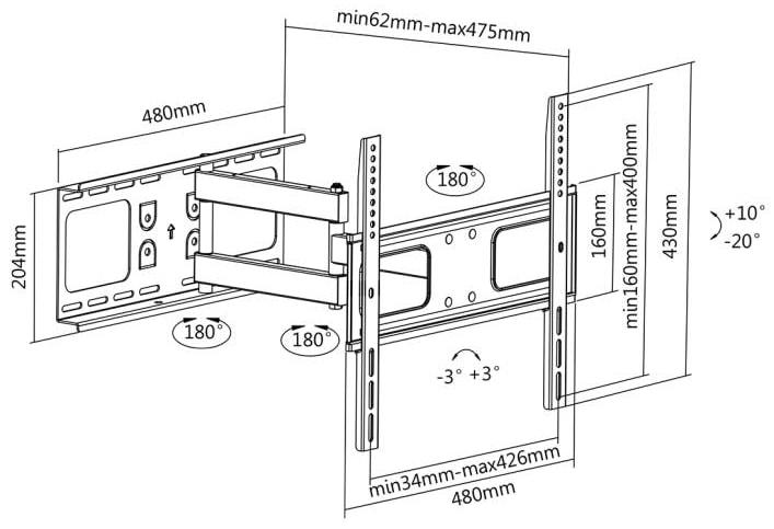 LC-U5R1 55C - Uchwyt do TV 32 - 55 cali z regulacją - Uchwyty ścienne TV