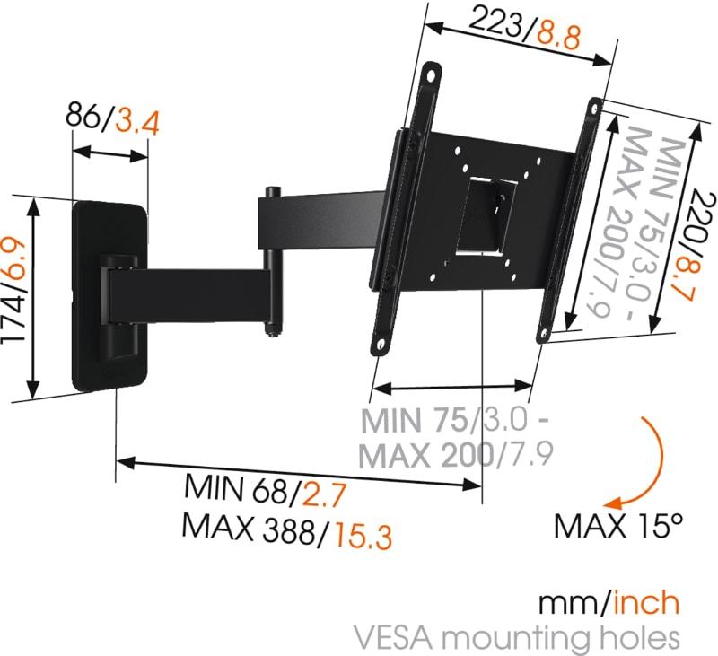 MA2040 - Uchwyt ścienny z regulacją - Uchwyty ścienne TV